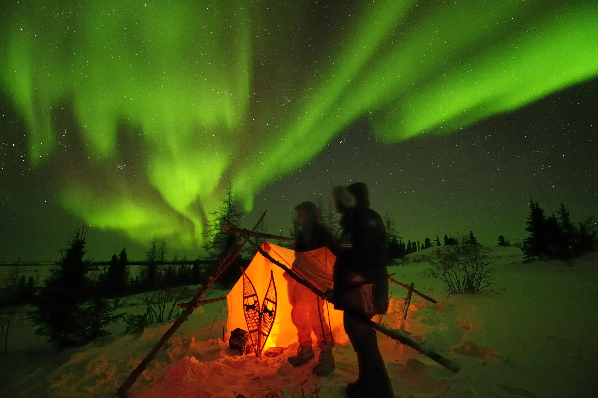 Blickpunkt Erde Multivisions-Vorträge, Polarlichter, Aurora Borealis über der Arktis, Hudson Bay, Manitoba, Kanada